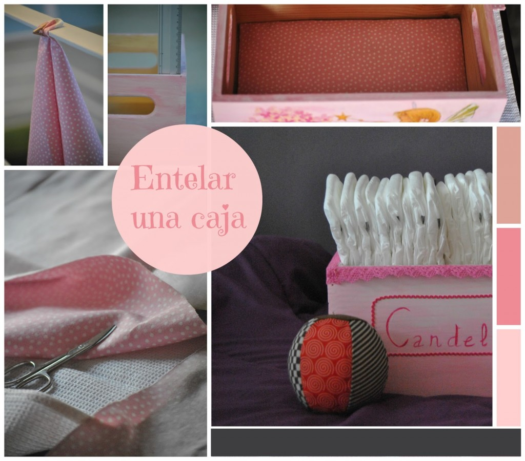 Tutorial para forrar una caja de madera con tela for Decorar muebles con tela