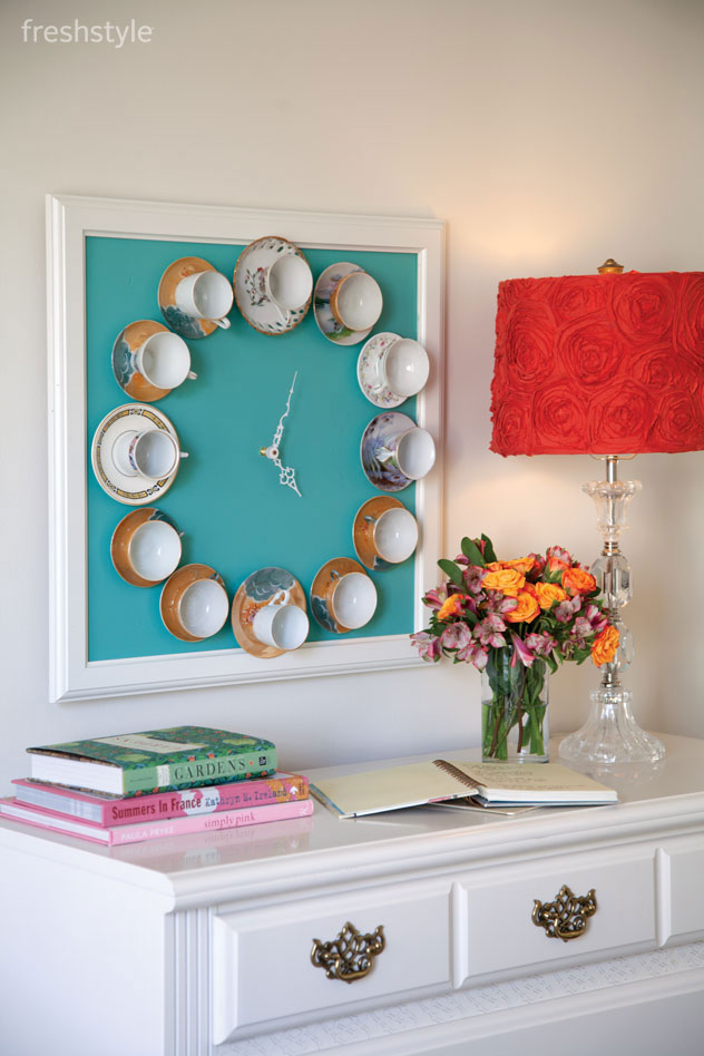 Teacup-wall-clock-DIY-home-decoration-ideas