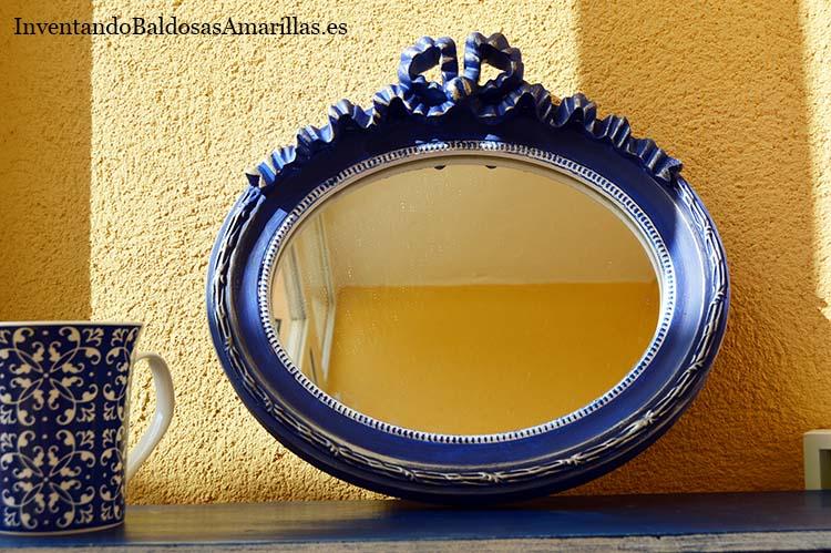 espejo diy azul