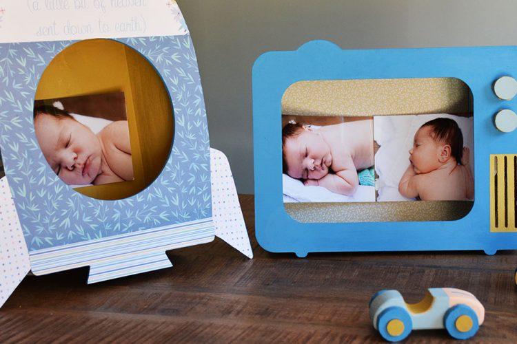 Cómo decorar un portafotos infantil con papel y pintura
